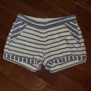 J. Crew Cotton Ivory Chambray Blue Striped Shorts